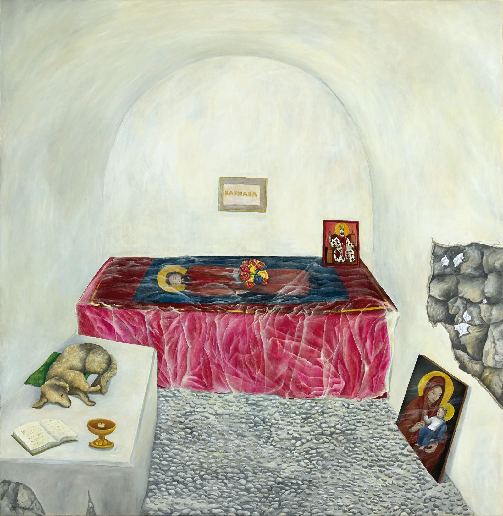 Hund im Grab des heiligen Barnabas auf Nordzypern